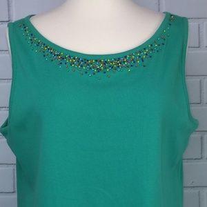 Susan Bristol Tank Top Embellished Beads Green XL